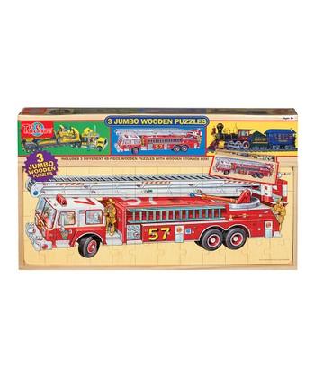 Vehicles Three-in-One Jumbo Puzzle Set