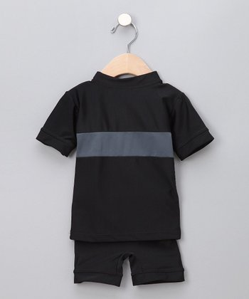 Black Two-Piece Swim Shirt & Shorts - Infant, Toddler & Boys