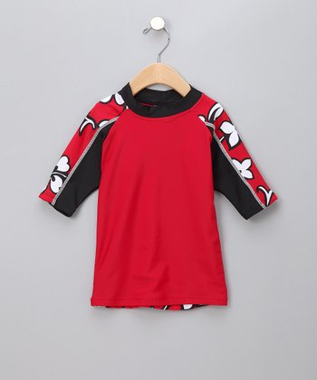 Red Hibiscus Rashguard - Toddler & Boys