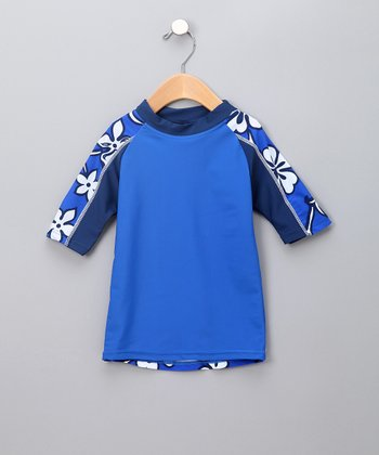 Blue Hibiscus Rashguard - Toddler & Boys