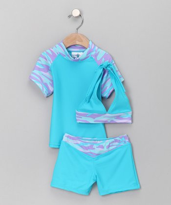 Blueberry Surfer Three-Piece Set - Toddler & Girls