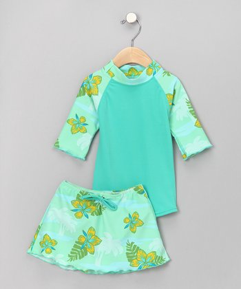 Mint Tropical Breeze Three-Piece Set - Infant & Toddler