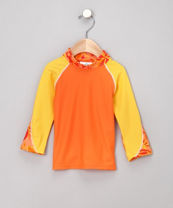 Orange Shoreline Rashguard - Infant, Toddler & Girls