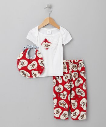 Red Cowboy Bib Outfit - Infant