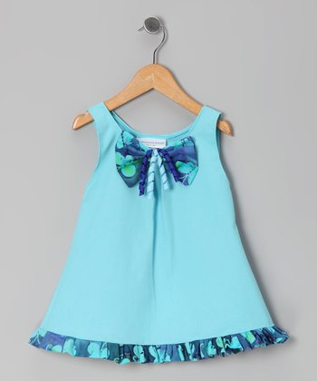 Aqua Blue Butterfly Ruffle Swing Dress - Infant & Toddler