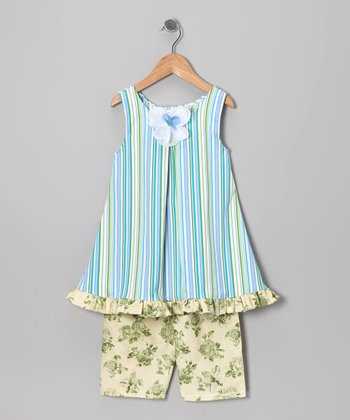 Blue Stripe Dress & Yellow Capri Pants - Infant, Toddler & Girls