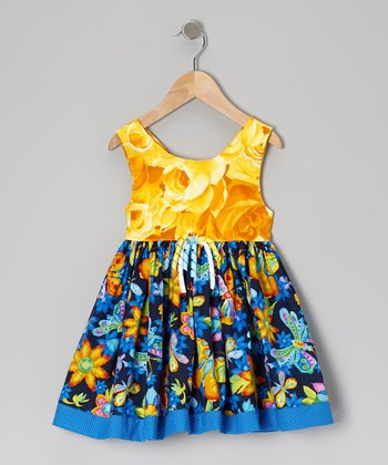 Blue & Yellow Butterfly Party Babydoll Dress - Infant & Toddler