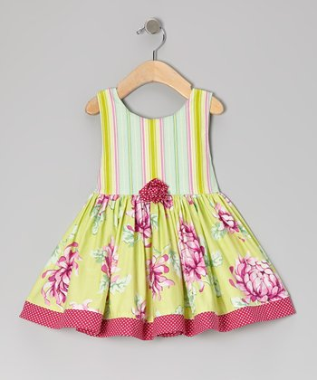 Green Stripe Floral Babydoll Dress - Infant & Toddler