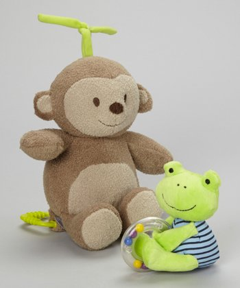 Monkey Musical Plush Toy & Frog Ring Rattle