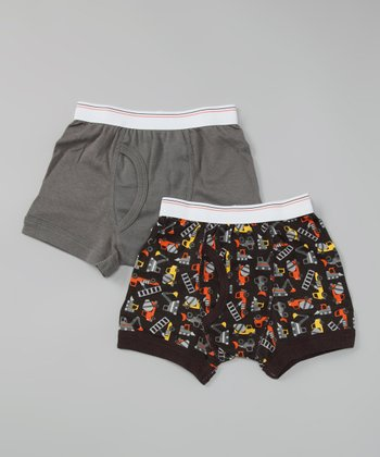 Carter's Black Construction Boxer Brief Set - Toddler & Boys