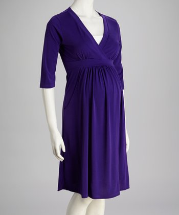 Purple Maternity Surplice Dress