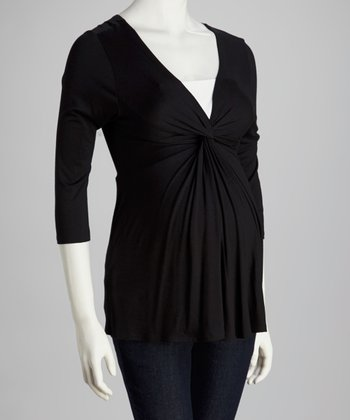 Black Knotted Maternity Top