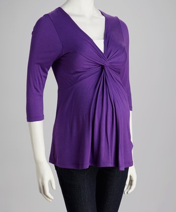 Purple Knotted Maternity Top - Women