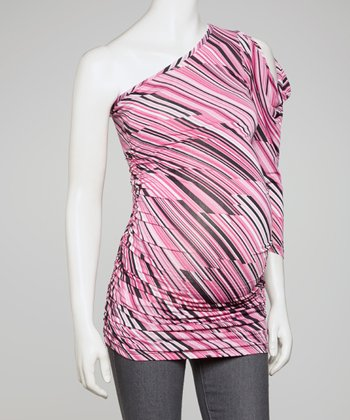 Pink Stripe Ruched Asymmetrical Maternity Top