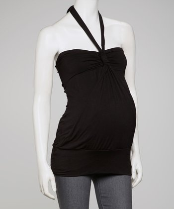 Black Banded Maternity Halter Top