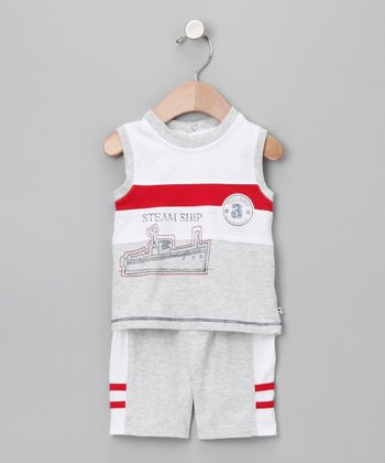 absorba Red & Gray Steam Ship Tank & Shorts - Infant