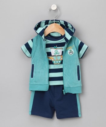 Navy & Lime Ship Hoodie Outfit - Infant