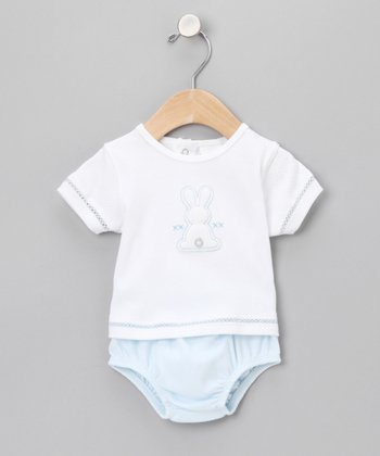 Light Blue Bunny Tee Outfit - Infant