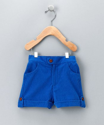 Blue Corduroy Cuffed Shorts - Toddler