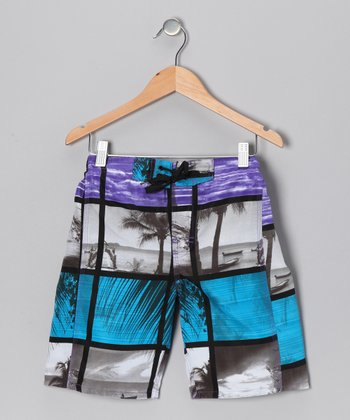 Blue & Purple Hendrix Photo Collage Boardshorts - Boys