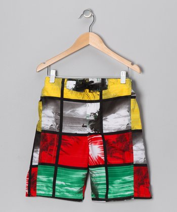 Red & Yellow Marley Photo Collage Boardshorts - Boys