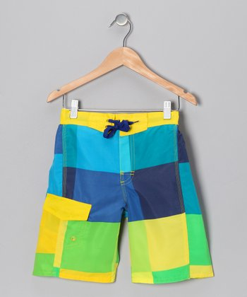 Highlight Yellow Hibiscus Boardshorts - Boys