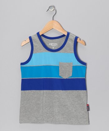 Light Gray Stripe Tank - Boys