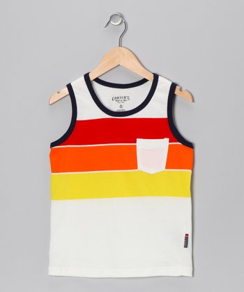 Pure White Stripe Tank - Boys