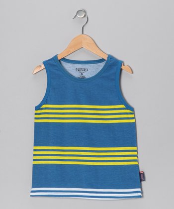 Deep Royal Stripe Tank - Boys