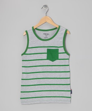 Light Gray Heather Stripe Tank - Boys