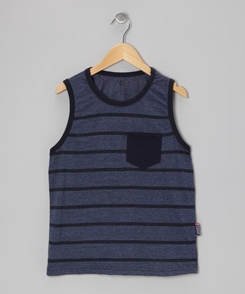 Navy Heather Stripe Tank - Boys