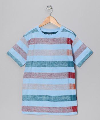 Light Sky Blue Stripe Tee - Boys