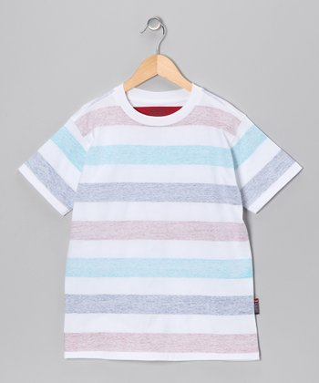 Pure White Stripe Tee - Boys