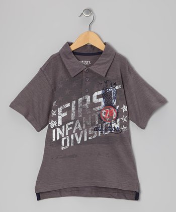 Pavement Gray 'Infantry' Polo - Boys