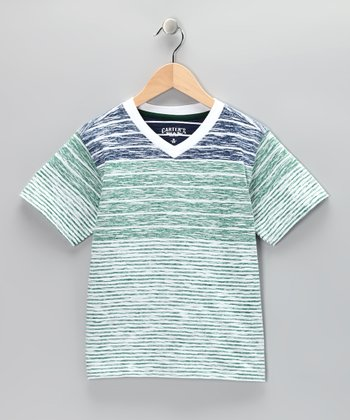Garden Green Stripe V-Neck Tee - Toddler & Boys