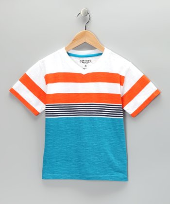 Aqua & Orange Stripe V-Neck Tee - Boys