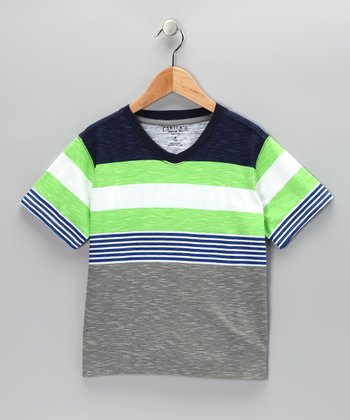 Black & Green Stripe V-Neck Tee - Boys