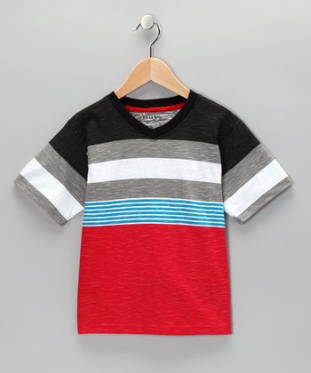 Red Blaze Stripe V-Neck Tee - Boys