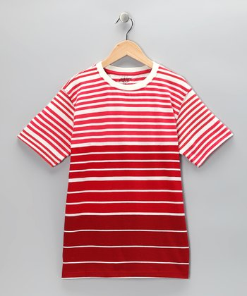Red Blaze Stripe Crewneck Tee - Boys