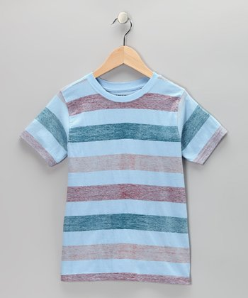 Light Sky Blue Stripe Crewneck Tee - Toddler & Boys