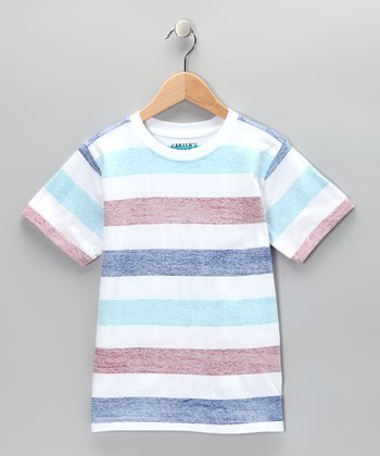 Pure White Stripe Crewneck Tee - Toddler & Boys