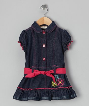 Red & Dark Wash Denim Belted Dress - Infant, Toddler & Girls