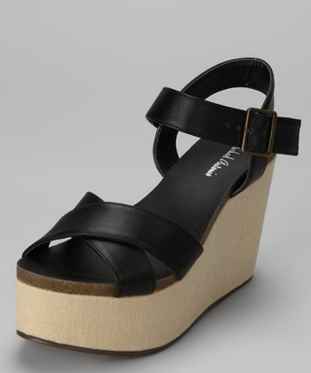 Black Gansa Wedge Sandal
