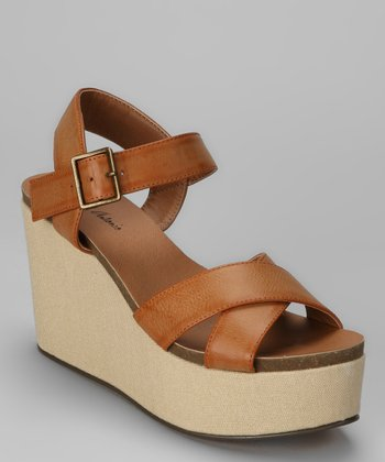 Tan Gansa Wedge Sandal