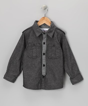 Dark Gray Oxford Button-Up & Tie - Infant, Toddler & Boys