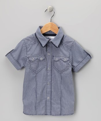 Navy Checkerboard Poplin Shirt - Infant & Boys
