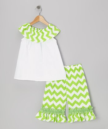 Green Zigzag Yoke Top & Capri Pants - Infant & Girls