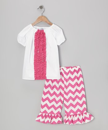 Pink Zigzag Top & Ruffle Capri Pants - Infant, Toddler & Girls