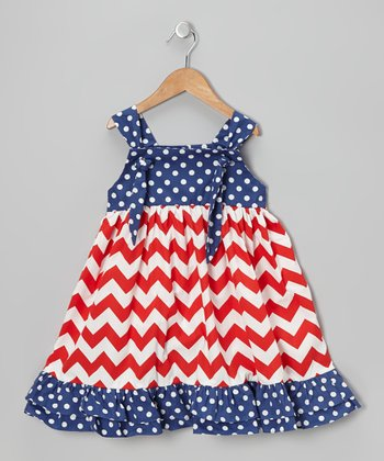 Red & Blue Patriotic Tie-Strap Dress - Infant, Toddler & Girls