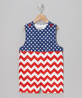 Red & White Patriotic Shortalls - Infant & Toddler